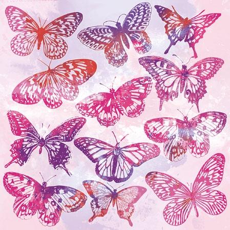 Servilletas 25x25 cm - Aquarell Butterflies Pink