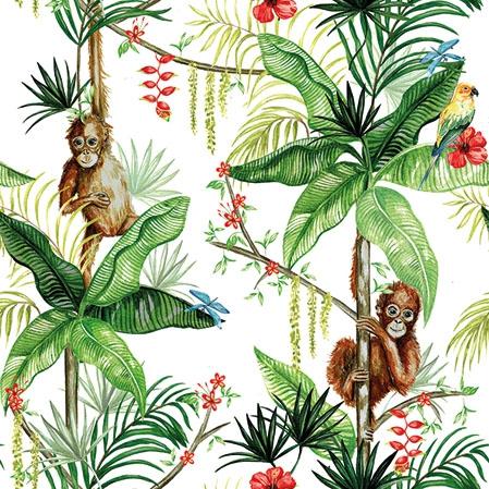 Napkins 25x25 cm - Orangutan White