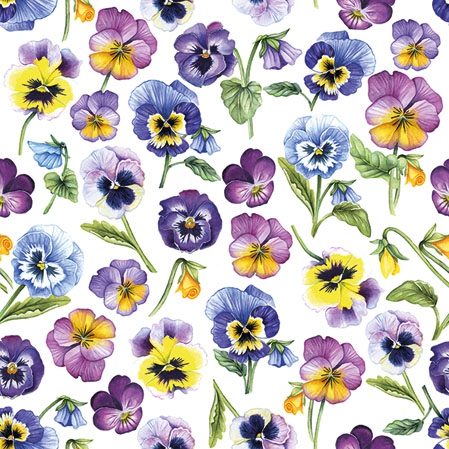 Napkins 25x25 cm - Pansy All Over