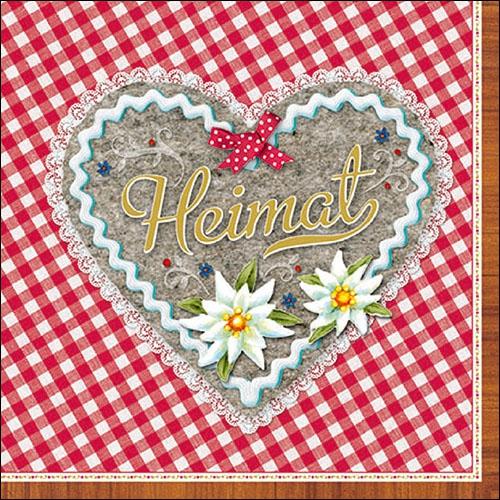 Napkins 33x33 cm - Heimat Herz Rot