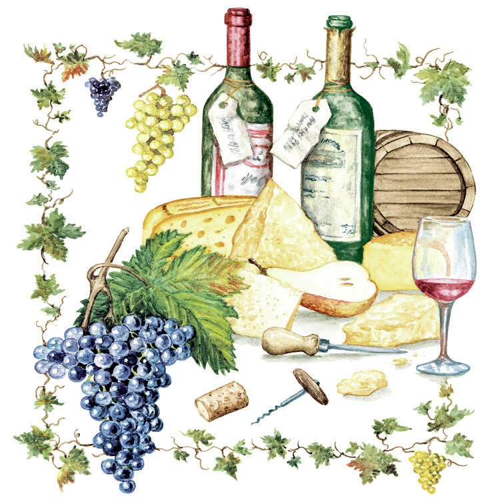 Napkins 33x33 cm - Wine And Cheese