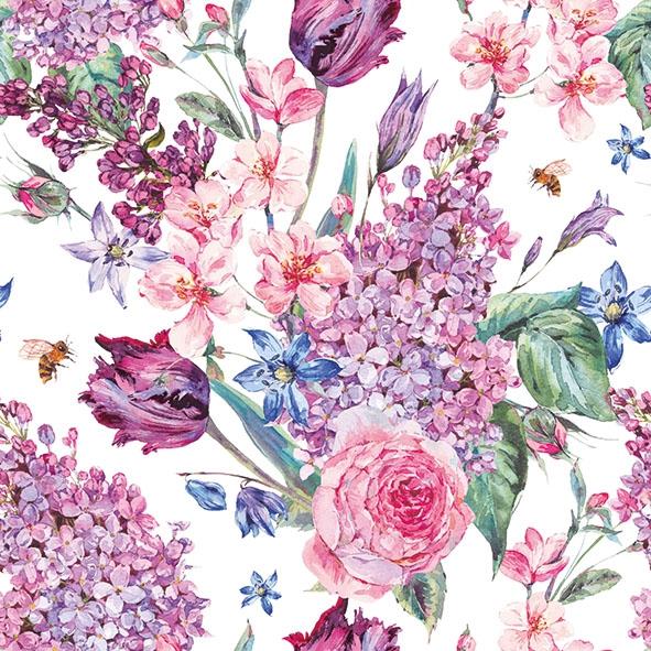 Napkins 33x33 cm - Flower Composition White