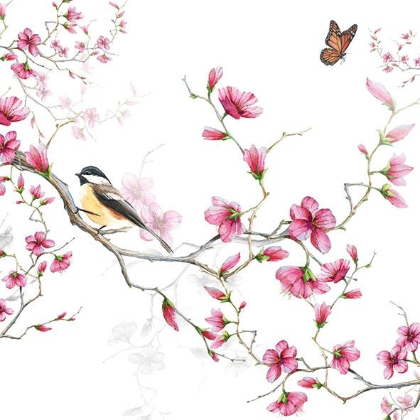 Servilletas 33x33 cm - Bird & Blossom White
