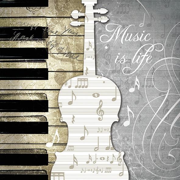 Servilletas 33x33 cm - Music Is Life