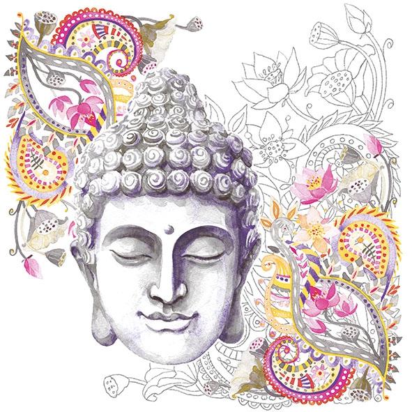 Serviettes 33x33 cm - Buddha Head Stone