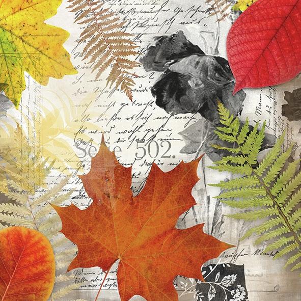 Napkins 33x33 cm - Leaves On Letter
