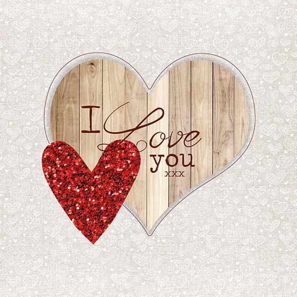 Napkins 33x33 cm - I Love You