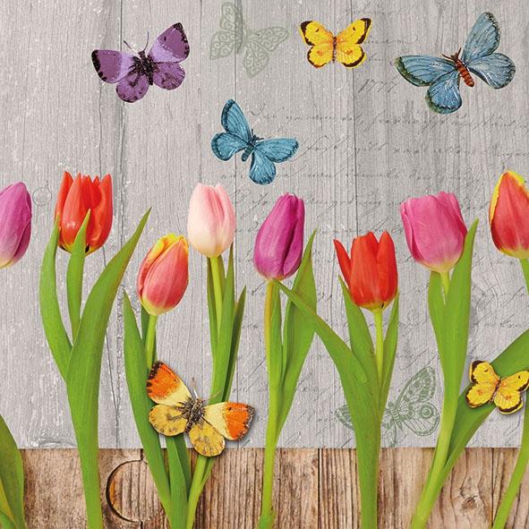 Napkins 33x33 cm - Spring Collage Grey