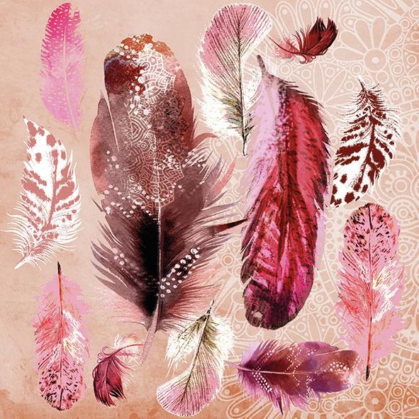 Serwetki 33x33 cm - Feather Mix