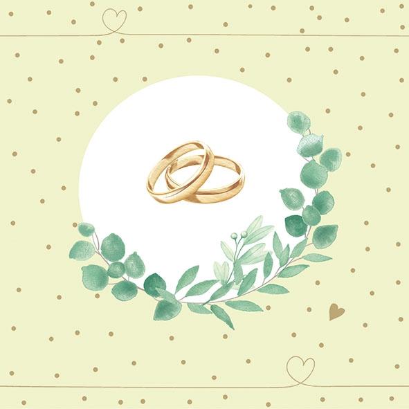 Napkins 33x33 cm - Wedding Branch Green