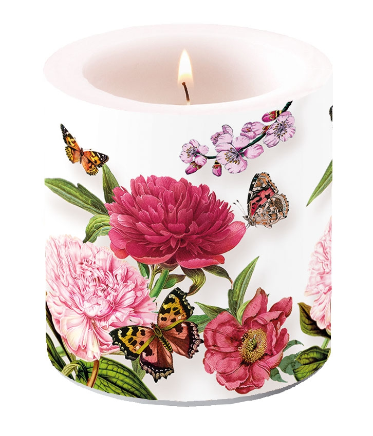 Decorative candle small - Peonien White