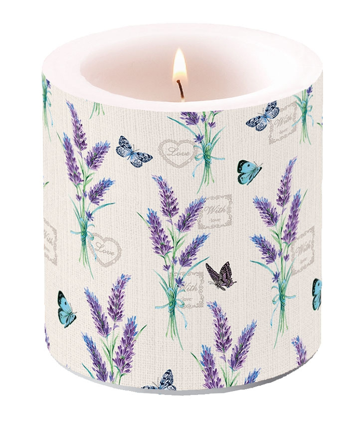 Decorative candle small - Lavender With Love Cream