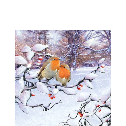 Napkins 25x25 cm - Robins On Branch