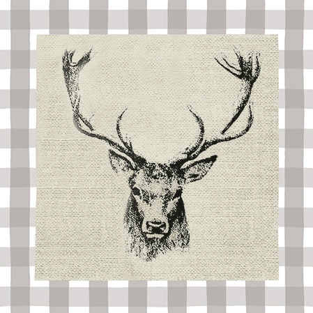 Napkins 25x25 cm - Checked Stag Head Brown
