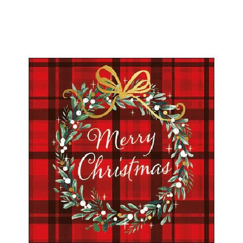 Serwetki 25x25 cm - Christmas Plaid Red