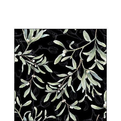 Serwetki 25x25 cm - Mistletoe All Over Black