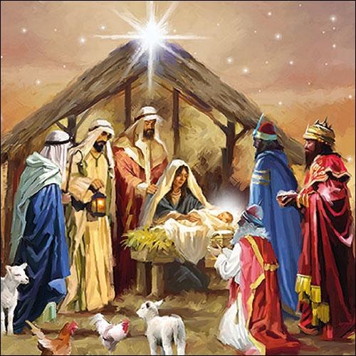 Servilletas 33x33 cm - Nativity Collage