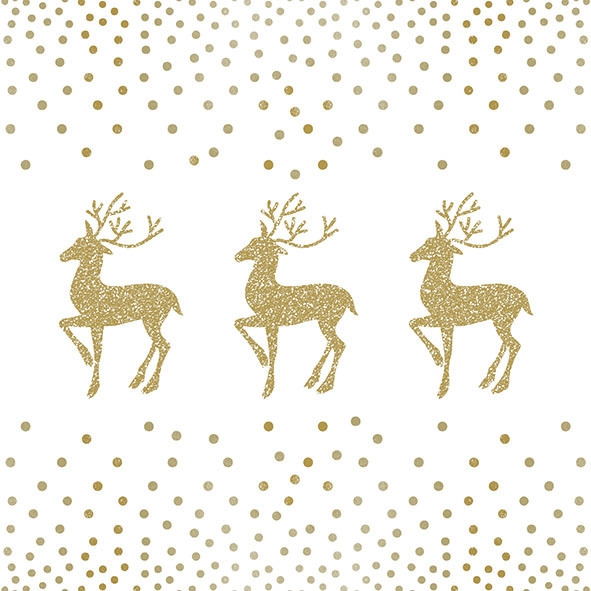 Napkins 33x33 cm - Deer And Dots White/Gold