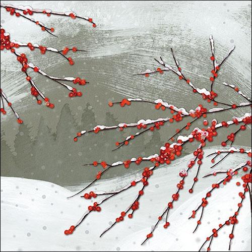 Napkins 33x33 cm - Snowy Berries