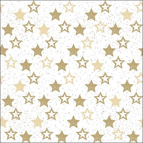 Napkins 33x33 cm - Stars All Over Gold