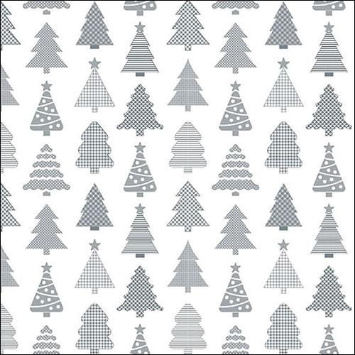Napkins 33x33 cm - Small Trees Silver