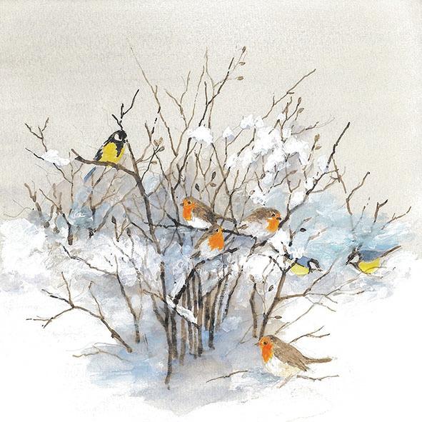 Napkins 33x33 cm - Birds On Branches