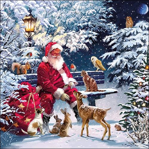 Napkins 33x33 cm - Santa On Bench