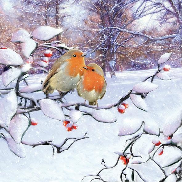 Napkins 33x33 cm - Robins On Branch
