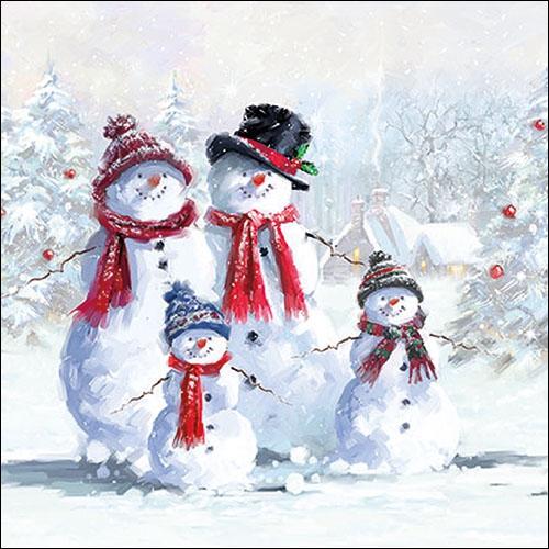 Napkins 33x33 cm - Snowmen With Hat