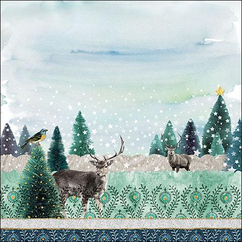Napkins 33x33 cm - Deer Winterscene