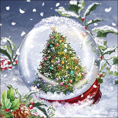 Servilletas 33x33 cm - Tree In Snowglobe