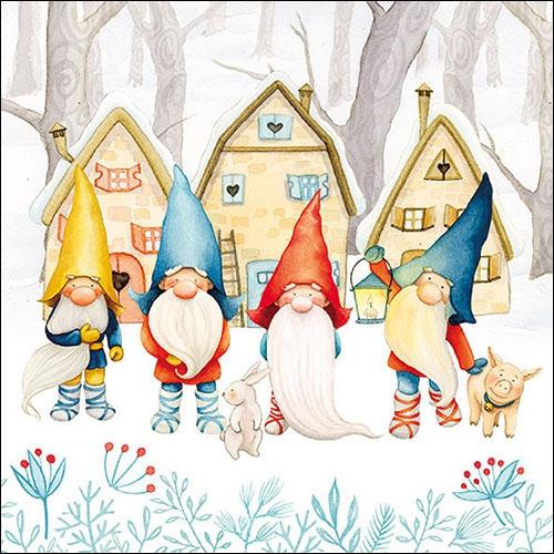 Napkins 33x33 cm - Gnomes