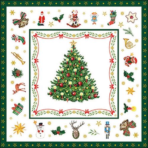 Servilletas 33x33 cm - Christmas Evergreen White