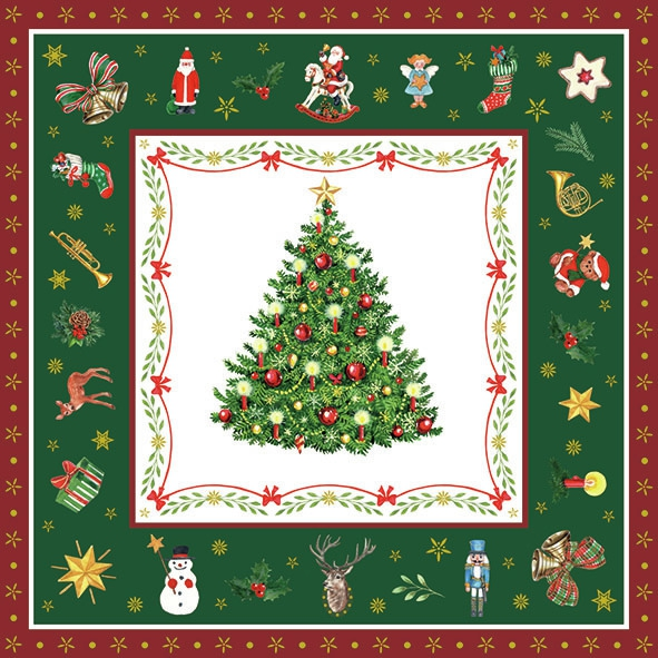 Servilletas 33x33 cm - Christmas Evergreen Green