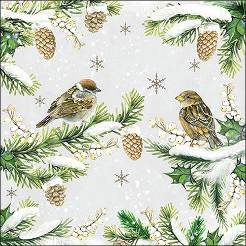 Servilletas 33x33 cm - Sparrows In Snow
