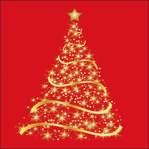Servilletas 33x33 cm - Shining Tree Red