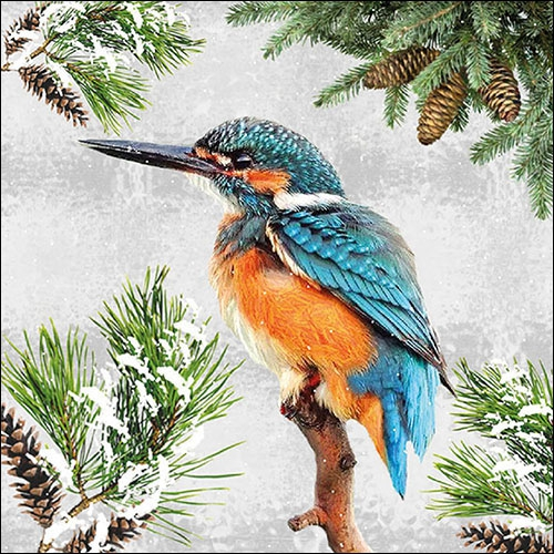 Servilletas 33x33 cm - Kingfisher In Snow