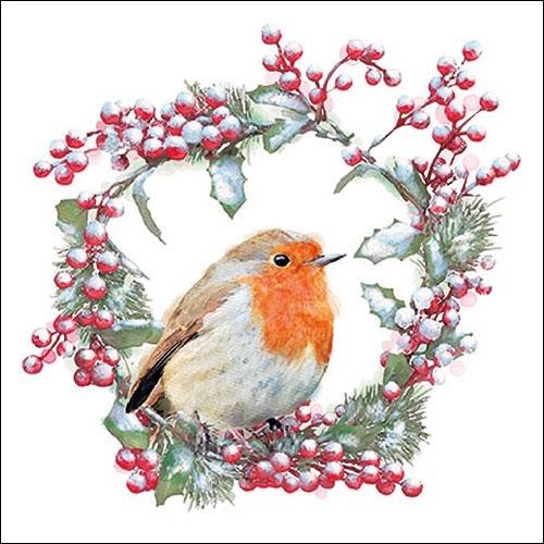 Servilletas 33x33 cm - Robin In Wreath