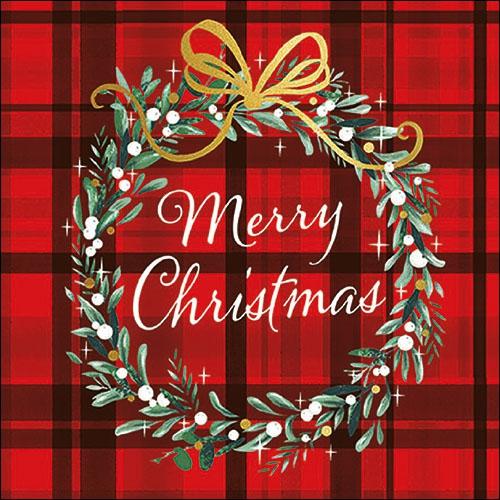 Serwetki 33x33 cm - Christmas Plaid Red