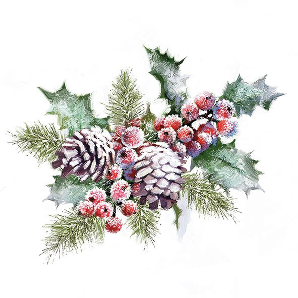 Servilletas 33x33 cm - Holly And Berries