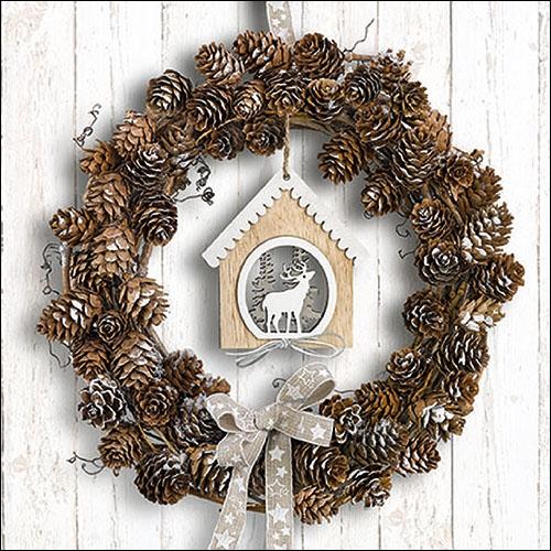Napkins 33x33 cm - Pine Cone Wreath