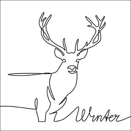 Napkins 33x33 cm - Deer Drawing Black
