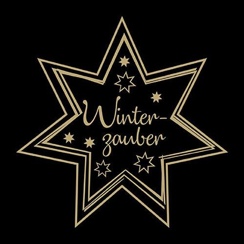 Servilletas 33x33 cm - Winterzauber Gold/Black