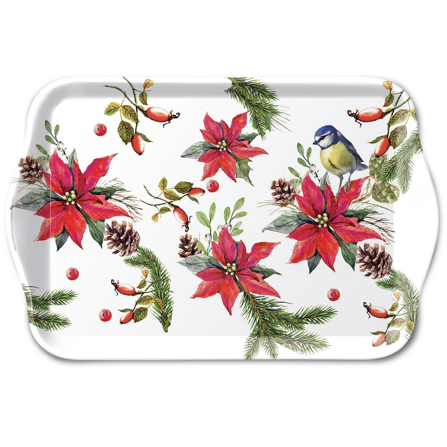 tray - Bird On Poinsettia White
