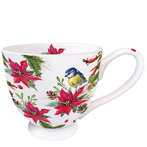 Taza de porcelana - Bird On Poinsettia White