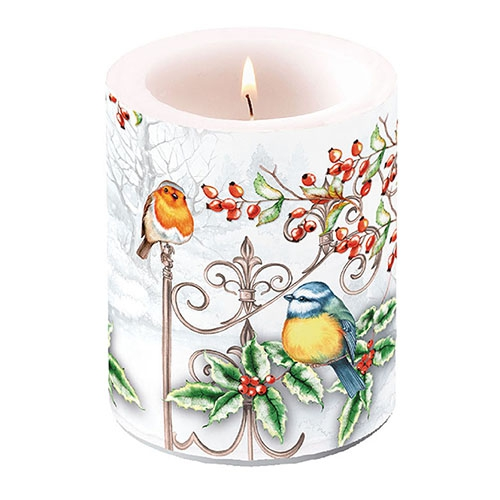 decorative candle - Birds & Holly
