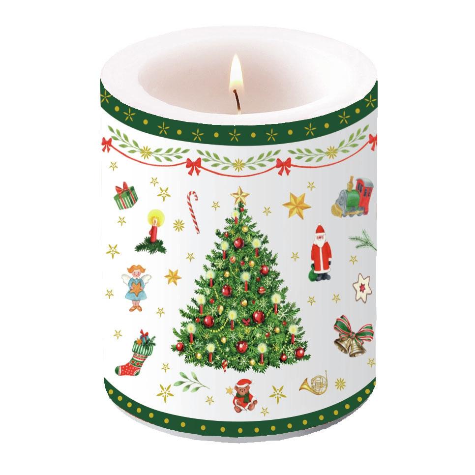 decorative candle - Christmas Evergreen White