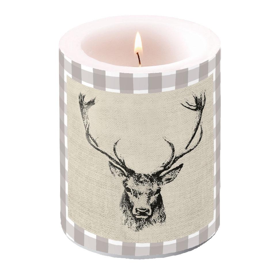 świeca dekoracyjna - Checked Stag Head Brown