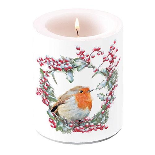 świeca dekoracyjna - Robin In Wreath