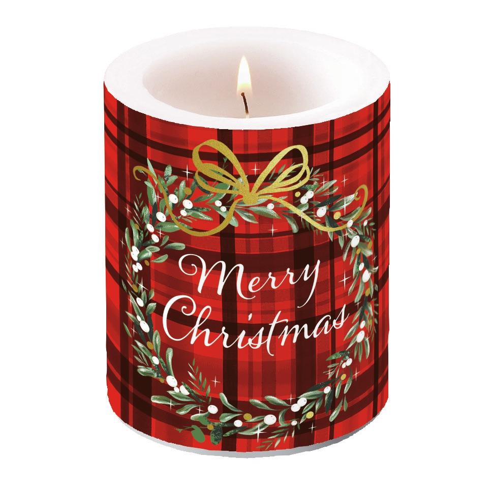 świeca dekoracyjna - Christmas Plaid Red